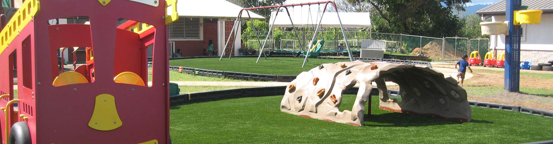 Artificial grass playground turf installation in Hawaii